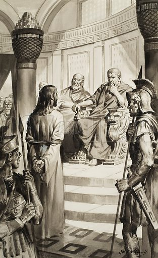 Christ in front of Pontius Pilate.  Original artwork for illustration on p25 of Look and Learn issue no 170 (17 April 1965).