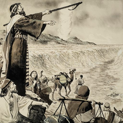 Moses and the Red Sea.  Original artwork from Treasure (issue yet to be identified). Lent for scanning by The Gallery of Illustration.