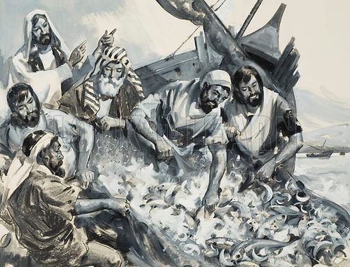 Fishers of Men.  Original artwork for illustration on p8 of Look and Learn issue no 104 (11 January 1964).  Lent for scanning by The Gallery of Illustration.