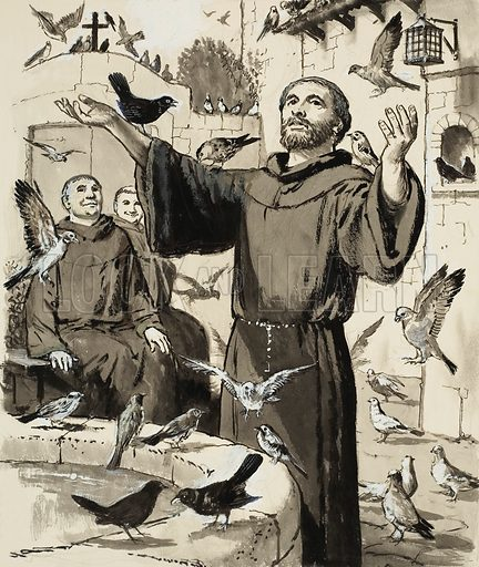 St Francis.  Original artwork for Treasure (issue yet to be identified).  Lent for scanning by The Gallery of Illustration.