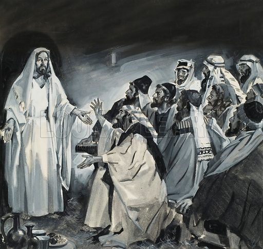 Doubting Thomas, seeing Christ after the Resurrection.  Original artwork for illustration on p20 of Look and Learn issue no 105 (18 January 1964).  Lent for scanning by The Gallery of Illustration.