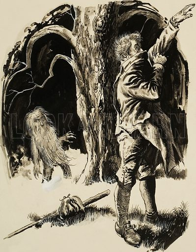 Leshy, or Spirit of the Forest.  To escape from a Leshy's spell, a victim had to take his clothes off and put them on again the wrong way round, making sure that his left shoe was on his right foot.  Original artwork for illustration on p31 of Look and Learn issue no 436 (23 May 1970).