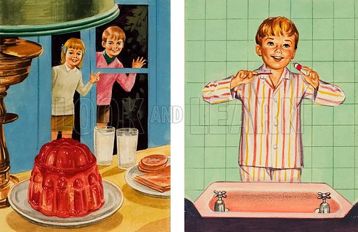 Brushing your teeth for dental health. Original artwork for illustration in Treasure (issue yet to be identified).