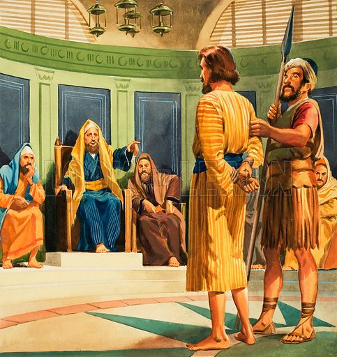 Christ before Caiaphas.  Original artwork for illustration in Look and Learn or The Bible Story (issue yet to be identified).  Lent for scanning by The Gallery of Illustration.