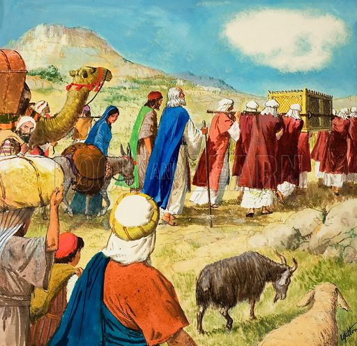 Moses and the Jews in the wilderness, carrying the Ark of the Covenant. Scene from the Bible, Exodus Chapters 15–40. Original artwork for illustration on p9 of Treasure issue no 196.