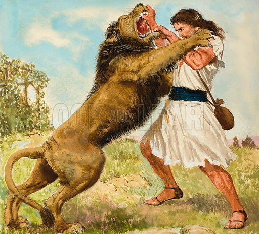 Samson Fighting a Lion. Original artwork for illustration on p9 of Treasure issue no 172.