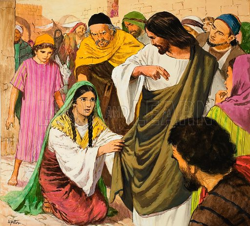 The amazing love of Jesus Christ: Jesus healing the bleeding woman. Original artwork for illustration on p9 of Treasure issue no 240. Note: in the magazine, the colour of Christ's garment has been changed from green to blue.