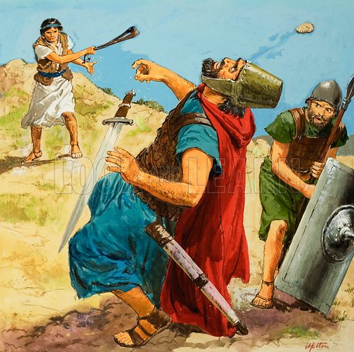 David slaying the Philistine giant Goliath with a stone thrown from his sling. Bible scene from the First Book of Samuel. Original artwork for illustration on p9 of Treausre issue no 222.