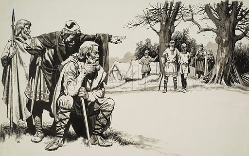 Norman Justice.  The court was held on the patch of round earth in the middle of the village where all important meetings took place.  Original artwork for illustration on pp8-9 of Look and Learn issue no 232 (25 June 1966).  Lent for scanning by The Gallery of Illustration.