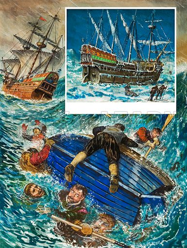 Shipwreck. Original artwork for illustration in Look and Learn (issue yet to be identified).