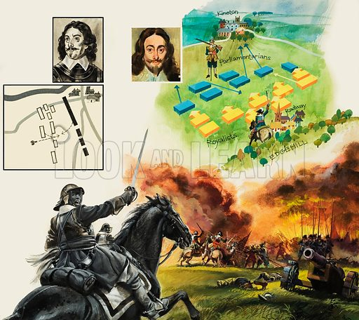Battle of Edgehill. By failing to press home his advantage after defeating the Parliamentarians at Edgehill, King Charles condemned England to a long and brutal Civil War. Original artwork for illustration on pp30–31 of Look and Learn issue no 1045 (20 March 1982).