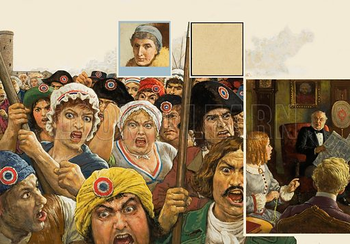 "Womens Liberation. The French Revolution (main illustration to left) had given a boost to new ideas, and suggested that women could play a more active part in society, but Victorian fathers (right) were outraged if their daughters considered ""Votes for Women"" a just struggle. Top left inset: Josephine Butler (1828–1906) who campaiged fearlessly against laws that degraded women. Original artwork for illustration on pp16–17 of Look and Learn issue no 1014 (15 August 1981)."