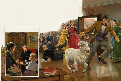 Sheep Indoors.  Original artwork for illustration in Look and Learn (issue yet to be identified).  Lent for scanning by The Gallery of Illustration.