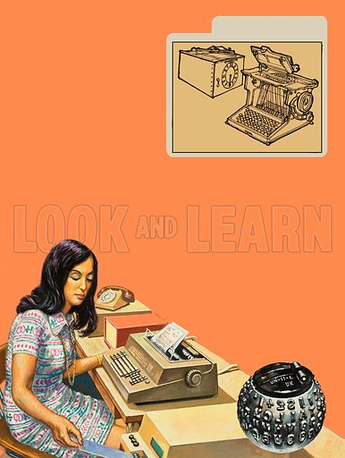 "Typewriters.  A secretary shown working with an IBM ""gold ball"" electric typewriter.  The gold ball could be changed to give over 100 choices of type face.  Original artwork for illustration on p2 of Look and Learn issue no 1044 (13 March 1982)."