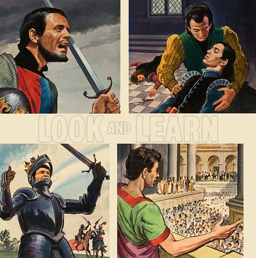 Images from Shakespeare.  Top left: Henry V.  Top right: Hamlet.  Bottom left: Richard III.  Bottom right: Julius Caesar.  Original artwork for images on cover of Look and Learn issue no 223 (23 April 1966).