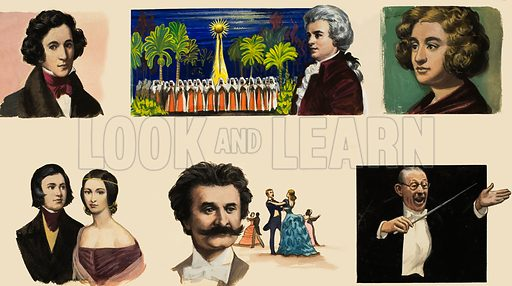 Musicians. Original artwork for illustration in Look and Learn (issue yet to be identified).
