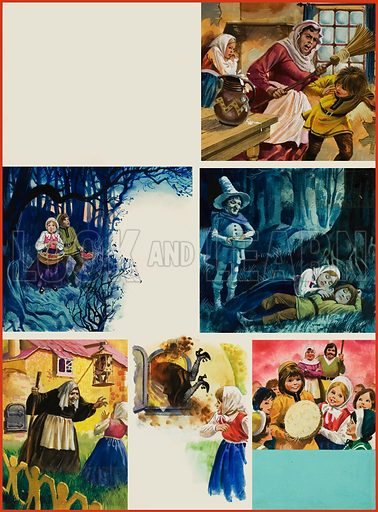Hansel and Gretel. Illustrations of the opera. Original artwork for illustration on p40 of Look and Learn issue no 796 (16 April 1977).