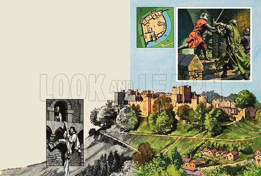 Ludlow Castle.  When Arnold de Lys returned to the castle which had once held him prisoner, he had only one thought in his mind - revenge.  Original artwork for illustration on pp30-31 of Look and Learn issue no 922 (22 September 1979).