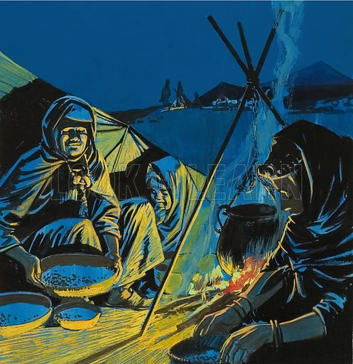 Sitting by the Camp Fire.  Original artwork for illustration in World of Wonder annual (yet to be identified).  Lent for scanning by The Gallery of Illustration.