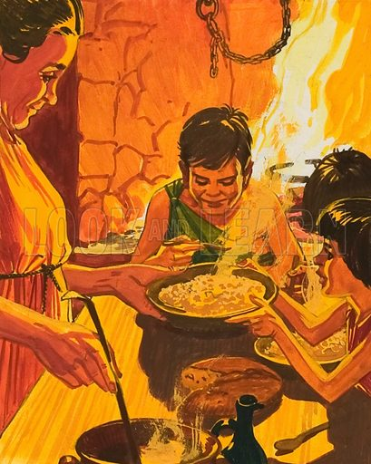 Children Eating Dinner.  Original artwork for illustration in World of Wonder annual (issue yet to be identified).  Lent for scanning by The Gallery of Illustration.