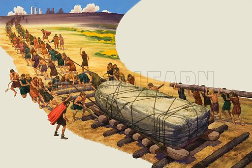 Building of Stonehenge. Original artwork for Look and Learn or Treasure (issue yet to be identified).