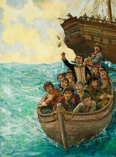 Men in a Boat.  Original artwork for Look and Learn (issue yet to be identified).  Lent for scanning by The Gallery of Illustration.