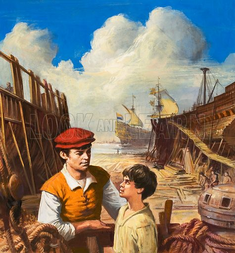 Will Adams, the English Marco Polo.  Original artwork for cover of Look and Learn issue no 684 (22 February 1975).