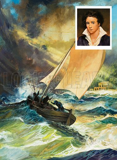 Shelley.  On 8 July 1822, against the advice of the local inhabitants, Shelley set out in his small boat for a sail.  The expected storm blew up, the boat foundered, and Shelley, who could not swim, was never seen alive again.  Eight days later his body was washed up on the beach - he was identified by a book of poetry in his pocket.  Original artwork for illustration on p23 of Look and Learn issue no 951 (12 April 1980).  Lent for scanning by The Gallery of Illustration.