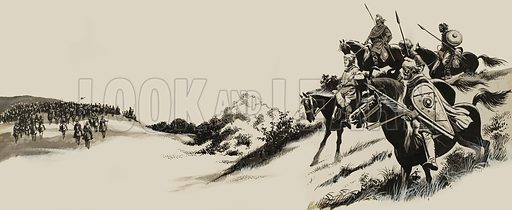 Story illustration.  Guarded by a group of soldiers, Eldred rode down the trail.  Below them, across a wide grassy plain, rode a large company of men.  Many of them were soldiers dressed for war.  Original artwork for illustration on pp22-23 of Look and Learn issue no 236 (23 July 1966).