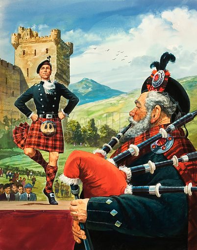 Highland Dancing. Original artwork for illustration on p14 of Look and Learn issue no 351 (5 October 1968).