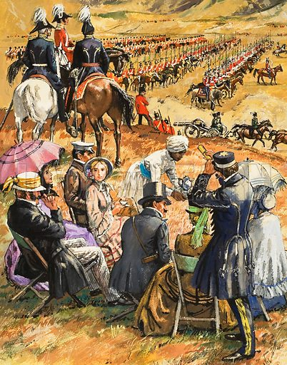 Wives in the Crimean War.  Incredibly, a group of allied soldiers came across a picnic party perched on the hills above the scene of the forthcoming battle.  Original artwork for illustration on p5 of Look and Learn issue no 491 (12 June 1971).  Lent for scanning by The Gallery of Illustration.