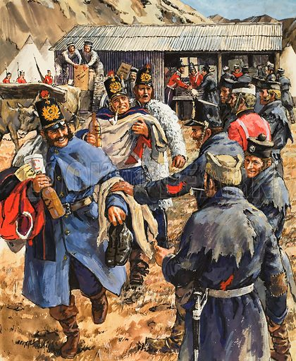 Turning Point in the Crimean War.  For the first time since their arrival in the Crimea, the troops found themselves with more than enough to satisfy their needs.  Original artwork for illustration on p5 of Look and Learn issue no 492 (19 June 1971).  Lent for scanning by The Gallery of Illustration.