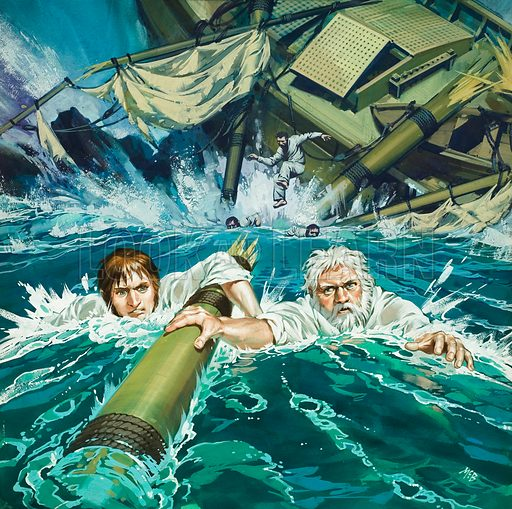The Wreck of the Eclipse.  Original artwork for cover of Look and Learn issue no 414 (20 December 1969).  Lent for scanning by The Gallery of Illustration.