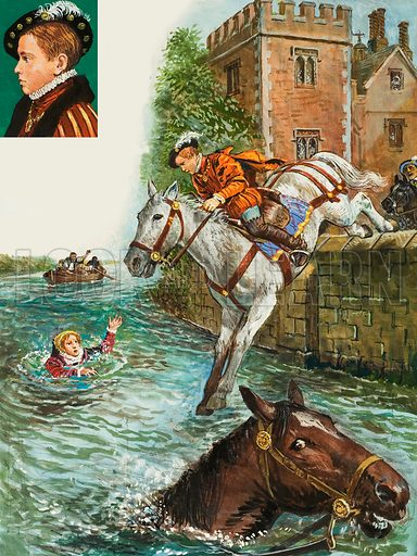 Edward VI rescues Elizabeth I.  When King Edward was twelve years old he was involved in a dramatic incident in which he saved the life of his half sister, Elizabeth. One day Elizabeth insisted on mounting her brother's horse.  The animal dashed away in the direction of the River Thames, leapt over a well and plunged into the water.  Edward immediately jumped on another horse and galloped in pursuit.  He rode the horse into the river and managed to rescue Elizabeth.  Original artwork for Look and Learn issue no 1003 (30 May 1981).  Lent for scanning by The Gallery of Illustration.