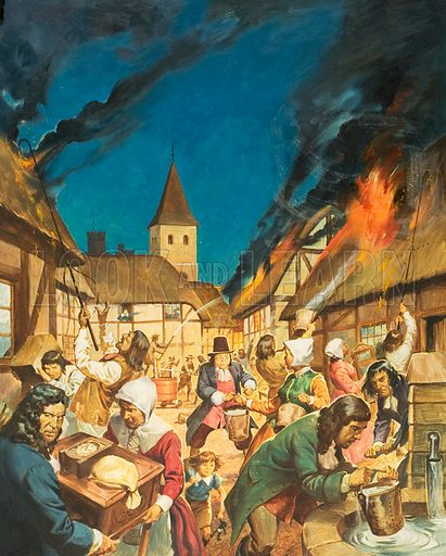 Fire in a town. Original artwork for Look and Learn (issue yet to be identified).