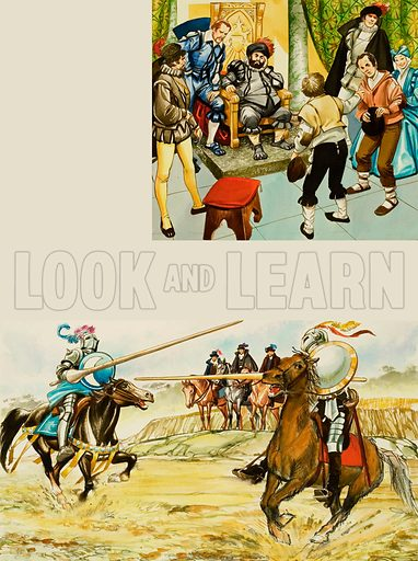 Knights Jousting.  Original artwork for Look and Learn (issue yet to be identified).  Lent for scanning by The Gallery of Illustration.