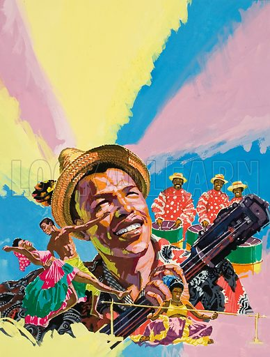 The Sugar Slaves. Behind the happiness and gaiety of the modern West Indian lies a troubled history of conquest and slavery. Original artwork for illustration on p12 of Look and Learn issue no 613 (13 October 1973).