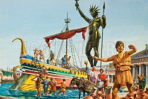 Rhodes.  For half a century, visitors to Rhodes gazed in awe at the towering statue of the sun god which dominated its harbour - until an earthquake destroyed it.  Original artwork for illustration on pp16-17 of Look and Learn issue no 949 (29 March 1980).  Lent for scanning by The Gallery of Illustration.