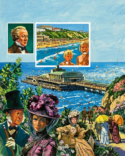 Bournemouth, the little town that gew from a small fishing village to a popular seaside town in less than 50 years.  Original artwork for illustration on p2 of Look and Learn issue no 963 (23 August 1980).  Lent for scanning by The Gallery of Illustration.