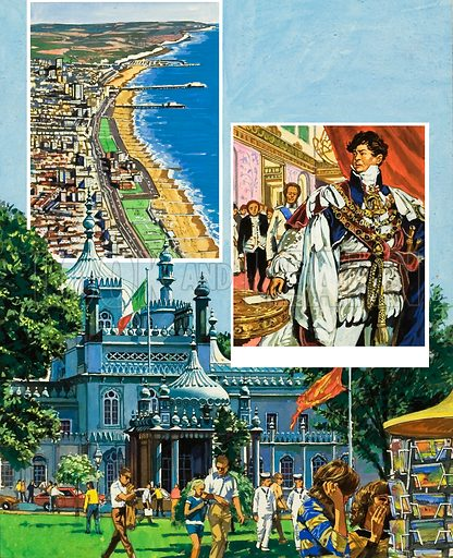 Brighton.  Inset: Many tourists visit the Royal Pavillion, where the Prince Regent once entertained his guest in regal style.  Original artwork for illustration on p2 of Look and Learn issue no 960 (2 August 1980).  Lent for scanning by The Gallery of Illustration.