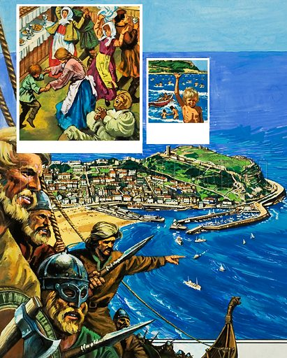 Scarborough, including images of Scarborough Fair (instigated by Henry II), nudist bathing (which records suggest occurred as early as 1735), and Vikings (who used the harbour beneath the castle).  Original artwork for illustration on p2 of Look and Learn issue no 961 (9 August 1980).