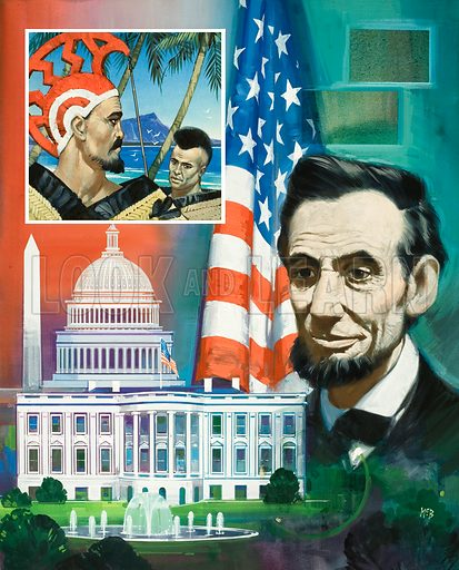 The White House.  Original artwork for illustration in Look and Learn (issue yet to be identified).  Lent for scanning by The Gallery of Illustration.