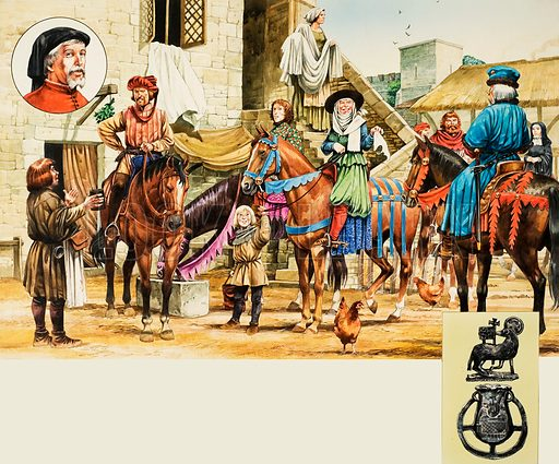 Canterbury Tales.  Pilgrims setting off from the Tabard Inn.  Original artwork for Look and Learn or Treasure (issue yet to be identified).  Lent for scanning by The Gallery of Illustration.