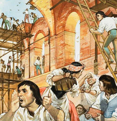 Pope Sixtus' Building Works.  As a patron of the arts, Pope Sixtus rivalled Lorenzo de' Medici, the man he hated.  He built the Vatican's famous Sistine Chapel (depicted here) and founded the Vatican Library.  Original artwork for illustration on p24 of Look and Learn issue no 601 (21 July 1973).  Lent for scanning by The Gallery of Illustration.