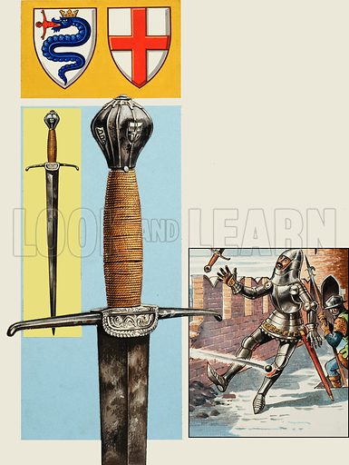 The Sword of Estore Visconti, who died as a result of a wound in his left leg.  Original artwork for illustration on p32 of Look and Learn issue no 992 (14 March 1981).  Lent for scanning by The Gallery of Illustration.