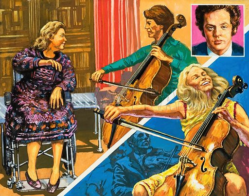 Jacqueline du Pre, the brilliant cellist, who suffered from multiple sclerosis. Original artwork for illustration on p2 of Look and Learn issue no 1007 (27 June 1981).