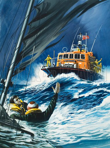 Life Savers. Original artwork for cover of Look and Learn issue no 599 (7 July 1973).