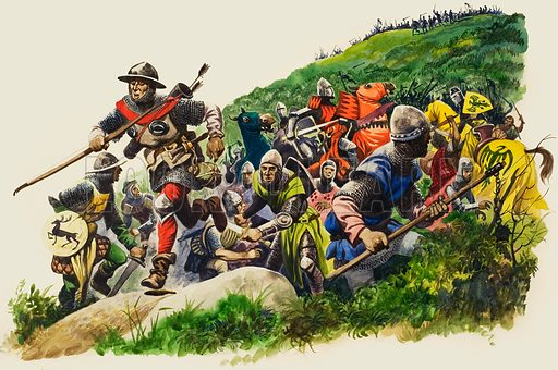 The Battle of Banockburn.  As figures come over the crest of the hill the English army flees, imagining themselves greatly outnumbered by the Scots, thereby losing the Battle of Bannockburn.  Original artwork for illustration on p17 of Treausre issue no 52.  Lent for scanning by The Gallery of Illustration.