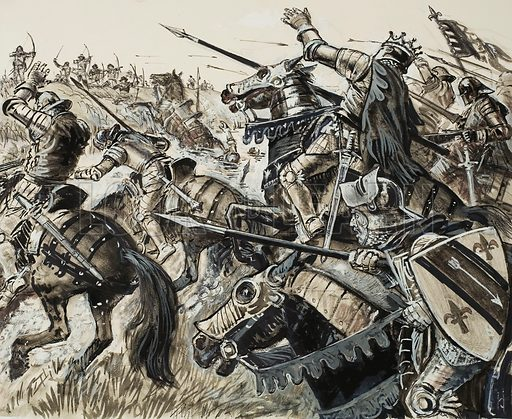 French versus Flemish in 1302.  Recklessly the French charged forward - and plunged into a canal which was between them and their Flemish foe.  Original artwork for illustration on p8 of Look and Learn issue no 550 (29 July 1972).  Lent for scanning by The Gallery of Illustration.