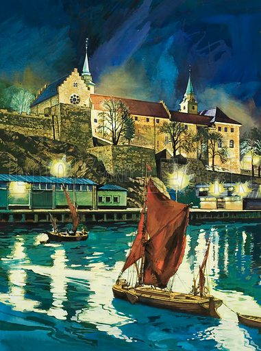 Akershus Castle, Oslo. Original artwork for illustration on p31 of Look and Learn issue no 927 (27 October 1979).